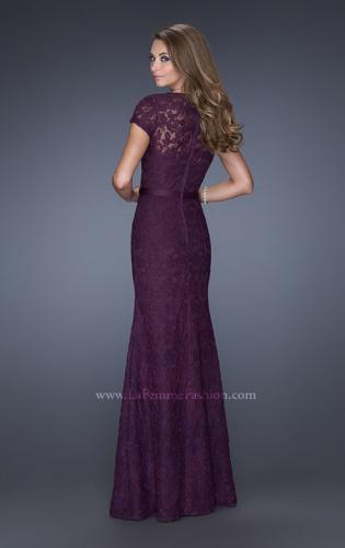 Picture of: Cap Sleeve Lace Evening Dress with Belted Waist, Style: 20464, Back Picture