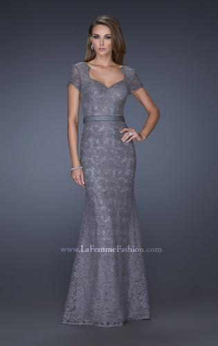 Picture of: Cap Sleeve Lace Evening Dress with Belted Waist, Style: 20464, Detail Picture 2