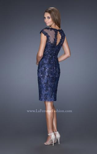 Picture of: Two Tones Lace Evening Dress with Lace Trim, Style: 20465, Detail Picture 2