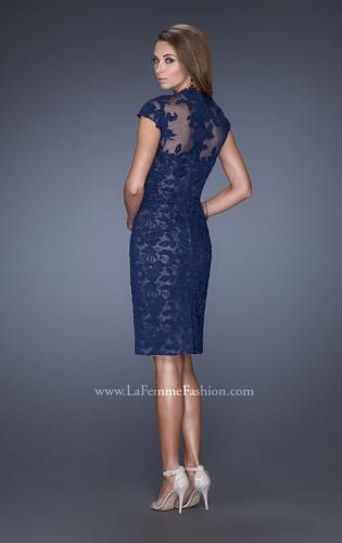 Picture of: High Neckline Lace Dress with Cap Sleeves, Style: 20466, Back Picture