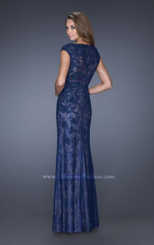 Picture of: Cap Sleeve Lace Evening Gown with High Scoop Neck, Style: 20471, Back Picture
