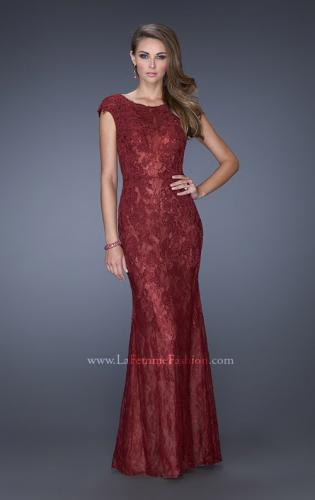Picture of: Cap Sleeve Lace Evening Gown with High Scoop Neck, Style: 20471, Detail Picture 1