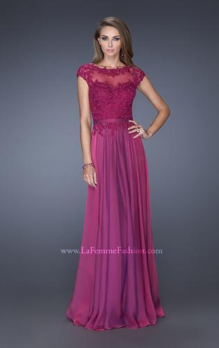 Picture of: Cap Sleeve Chiffon Evening Dress with Lace Accents, Style: 20476, Main Picture