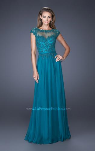 Picture of: Cap Sleeve Chiffon Evening Dress with Lace Accents, Style: 20476, Detail Picture 1