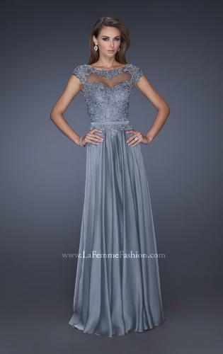 Picture of: Cap Sleeve Chiffon Evening Dress with Lace Accents, Style: 20476, Detail Picture 2