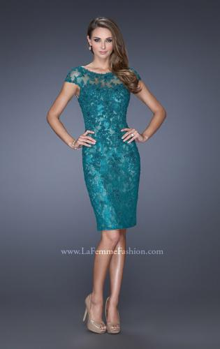 Picture of: Long Lace Gown with Cap Sleeves and Lace Appliques, Style: 20478, Main Picture