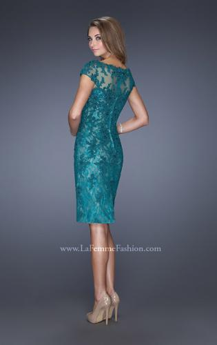 Picture of: Long Lace Gown with Cap Sleeves and Lace Appliques, Style: 20478, Back Picture