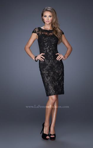 Picture of: Long Lace Gown with Cap Sleeves and Lace Appliques, Style: 20478, Detail Picture 1