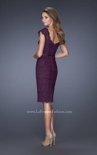 Picture of: Lace Dress with Cap Sleeves and a Thin Belt, Style: 20481, Back Picture