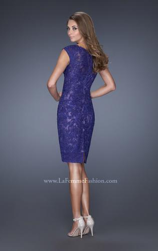 Picture of: Scoop Neck Lace Evening Dress with Small Slit, Style: 20484, Back Picture