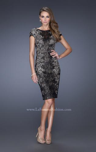 Picture of: Two Tones Lace Evening Dress with High Scoop Neckline, Style: 20485, Main Picture