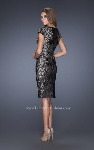 Picture of: Two Tones Lace Evening Dress with High Scoop Neckline, Style: 20485, Back Picture