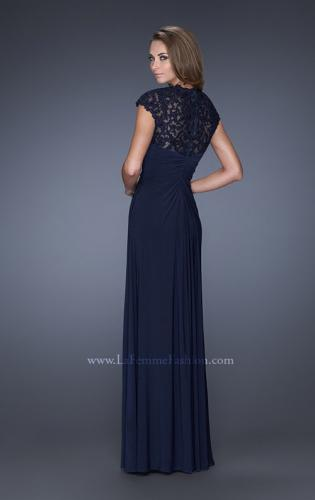 Picture of: Evening Gown with Lace, Ruching, and Cap Sleeves, Style: 20487, Back Picture