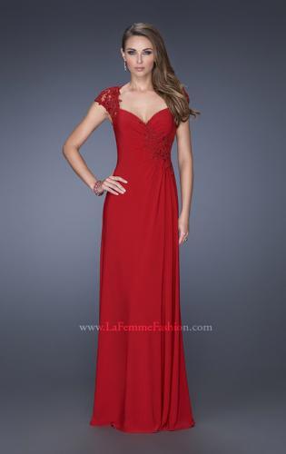 Picture of: Evening Gown with Lace, Ruching, and Cap Sleeves, Style: 20487, Detail Picture 1