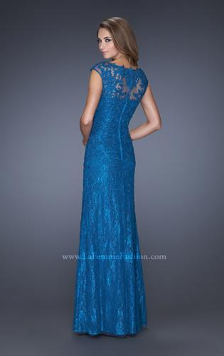 Picture of: Long Lace Evening Dress with Cap Sleeves, Style: 20490, Back Picture