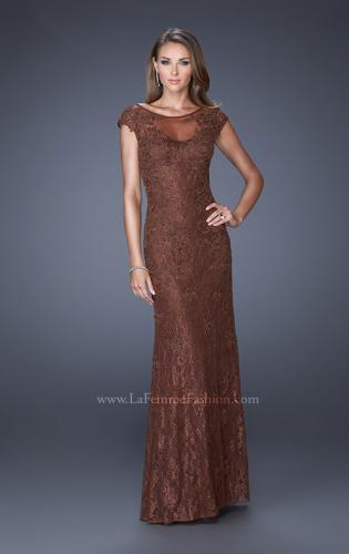 Picture of: Long Lace Evening Dress with Cap Sleeves, Style: 20490, Detail Picture 1