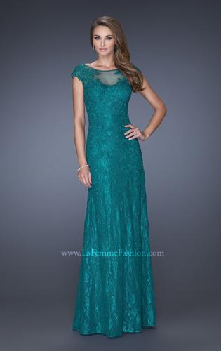 Picture of: Long Lace Evening Dress with Cap Sleeves, Style: 20490, Detail Picture 2