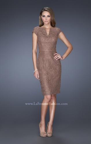 Picture of: Long Pleated Lace Evening Dress with Thin Belt, Style: 20501, Detail Picture 1