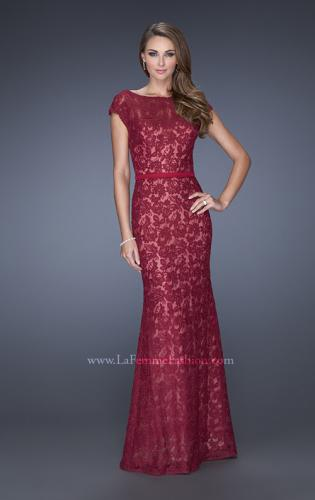 Picture of: Lace Evening Dress with Cap Sleeves and a Thin Belt, Style: 20503, Main Picture