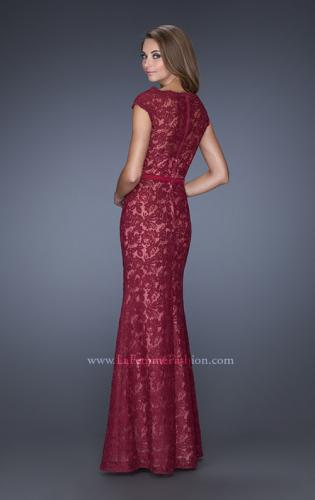 Picture of: Lace Evening Dress with Cap Sleeves and a Thin Belt, Style: 20503, Back Picture
