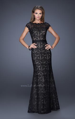 Picture of: Lace Evening Dress with Cap Sleeves and a Thin Belt, Style: 20503, Detail Picture 1