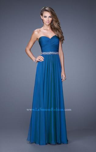 Picture of: Long Chiffon Dress with Ruched Detail and Embellishments, Style: 20527, Main Picture