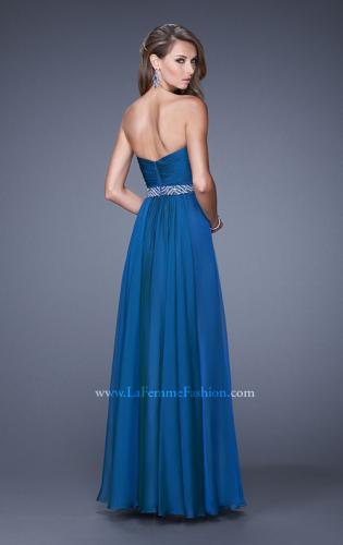 Picture of: Long Chiffon Dress with Ruched Detail and Embellishments, Style: 20527, Back Picture