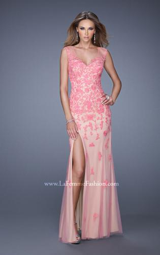 Picture of: Nude Jersey Prom Dress with Colored Tulle Overlay, Style: 20569, Main Picture
