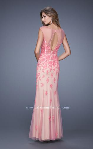 Picture of: Nude Jersey Prom Dress with Colored Tulle Overlay, Style: 20569, Back Picture