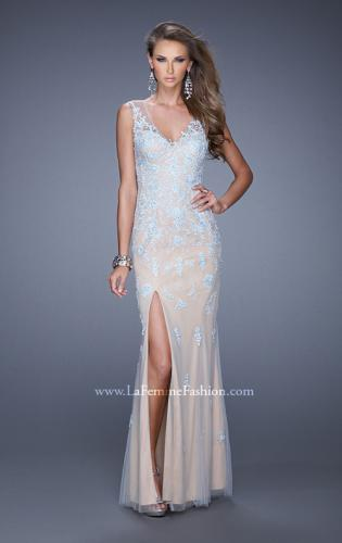 Picture of: Nude Jersey Prom Dress with Colored Tulle Overlay, Style: 20569, Detail Picture 1