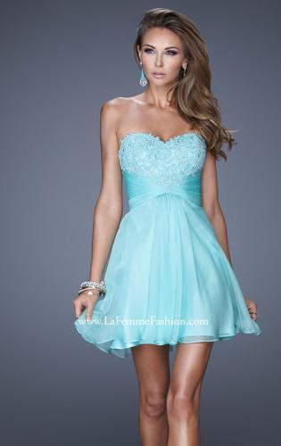 Picture of: Lace and Chiffon Prom Dress with Shimmery Lace Detail, Style: 20574, Main Picture