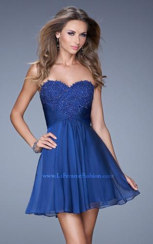 Picture of: Lace and Chiffon Prom Dress with Shimmery Lace Detail, Style: 20574, Detail Picture 1