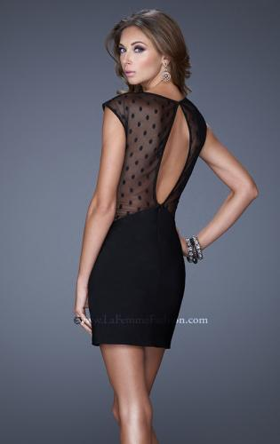 Picture of: Sheer Polka Dot Cap Sleeve Short Dress, Style: 20577, Back Picture