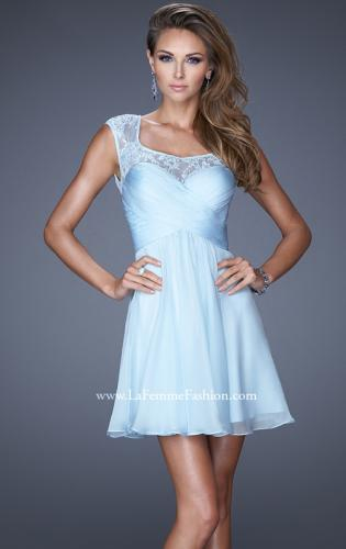 Picture of: Short Chiffon Prom Dress with Criss Cross Bodice, Style: 20581, Main Picture