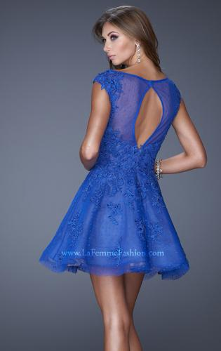 Picture of: Tulle and Lace Cocktail Dress with Polka Dot Detail, Style: 20591, Back Picture