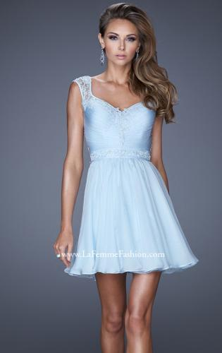 Picture of: Short Chiffon Prom Dress with Jeweled Lace Accents, Style: 20618, Back Picture