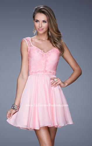 Picture of: Short Chiffon Prom Dress with Jeweled Lace Accents, Style: 20618, Detail Picture 1