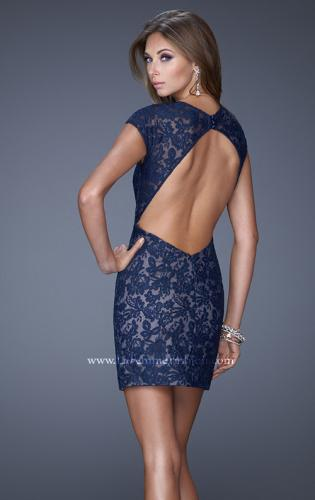 Picture of: V Neck Lace Cocktail Dress with Diamond Back, Style: 20621, Back Picture