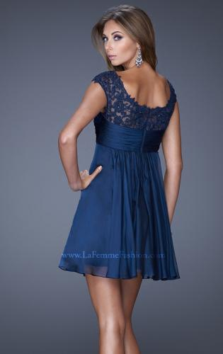 Picture of: Cap Sleeve Chiffon Short Dress with Gathering, Style: 20624, Back Picture