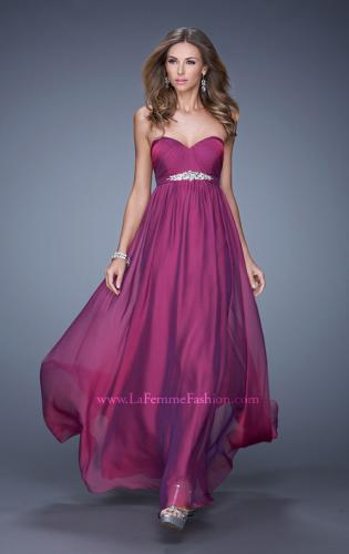 Picture of: Empire Waist Prom Gown with Gathered Bodice and Beads, Style: 20625, Main Picture