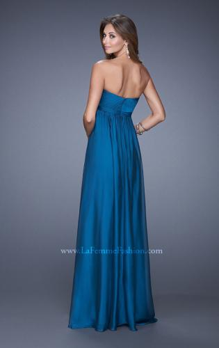 Picture of: Empire Waist Prom Gown with Gathered Bodice and Beads, Style: 20625, Back Picture