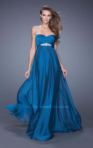Picture of: Empire Waist Prom Gown with Gathered Bodice and Beads, Style: 20625, Detail Picture 1