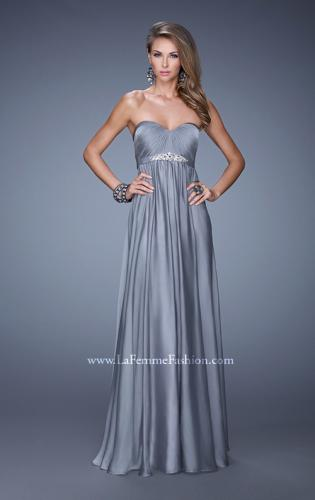 Picture of: Empire Waist Prom Gown with Gathered Bodice and Beads, Style: 20625, Detail Picture 2