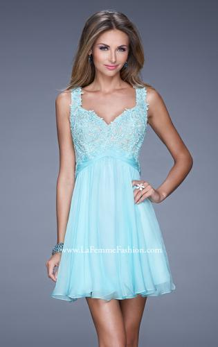 Picture of: Short Chiffon Prom Dress with Jeweled Lace Bodice, Style: 20631, Detail Picture 1
