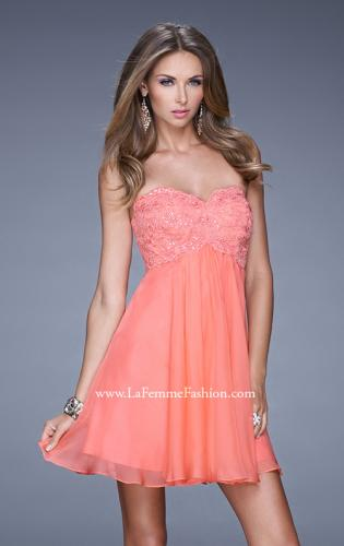 Picture of: Open Back Strapless Long Prom Gown with Lace Bodice, Style: 20633, Detail Picture 1