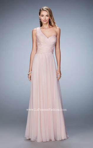 Picture of: Long One Shoulder Prom Gown with Criss Cross Bodice, Style: 20639, Main Picture
