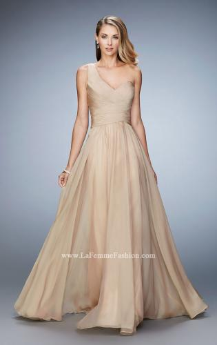 Picture of: Long One Shoulder Prom Gown with Criss Cross Bodice, Style: 20639, Detail Picture 1