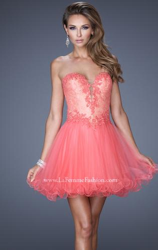 Picture of: Strapless Sweetheart Tulle Prom Dress with Lace Bodice, Style: 20656, Main Picture