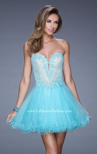 Picture of: Strapless Sweetheart Tulle Prom Dress with Lace Bodice, Style: 20656, Detail Picture 1