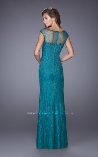 Picture of: Embellished Lace Evening Dress with Cap Sleeves, Style: 20673, Back Picture